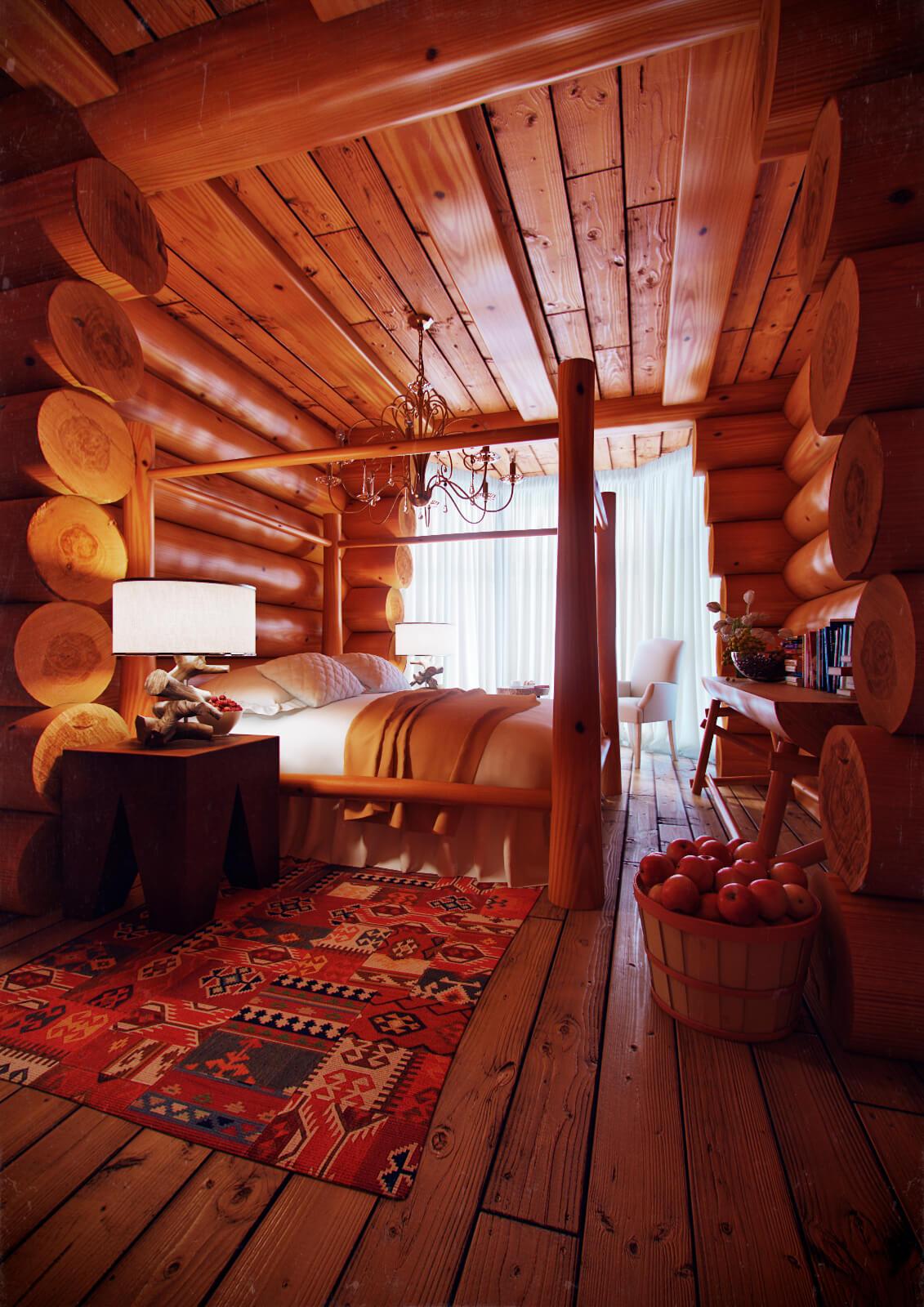 Спальня, Дом из сруба, г. Киев