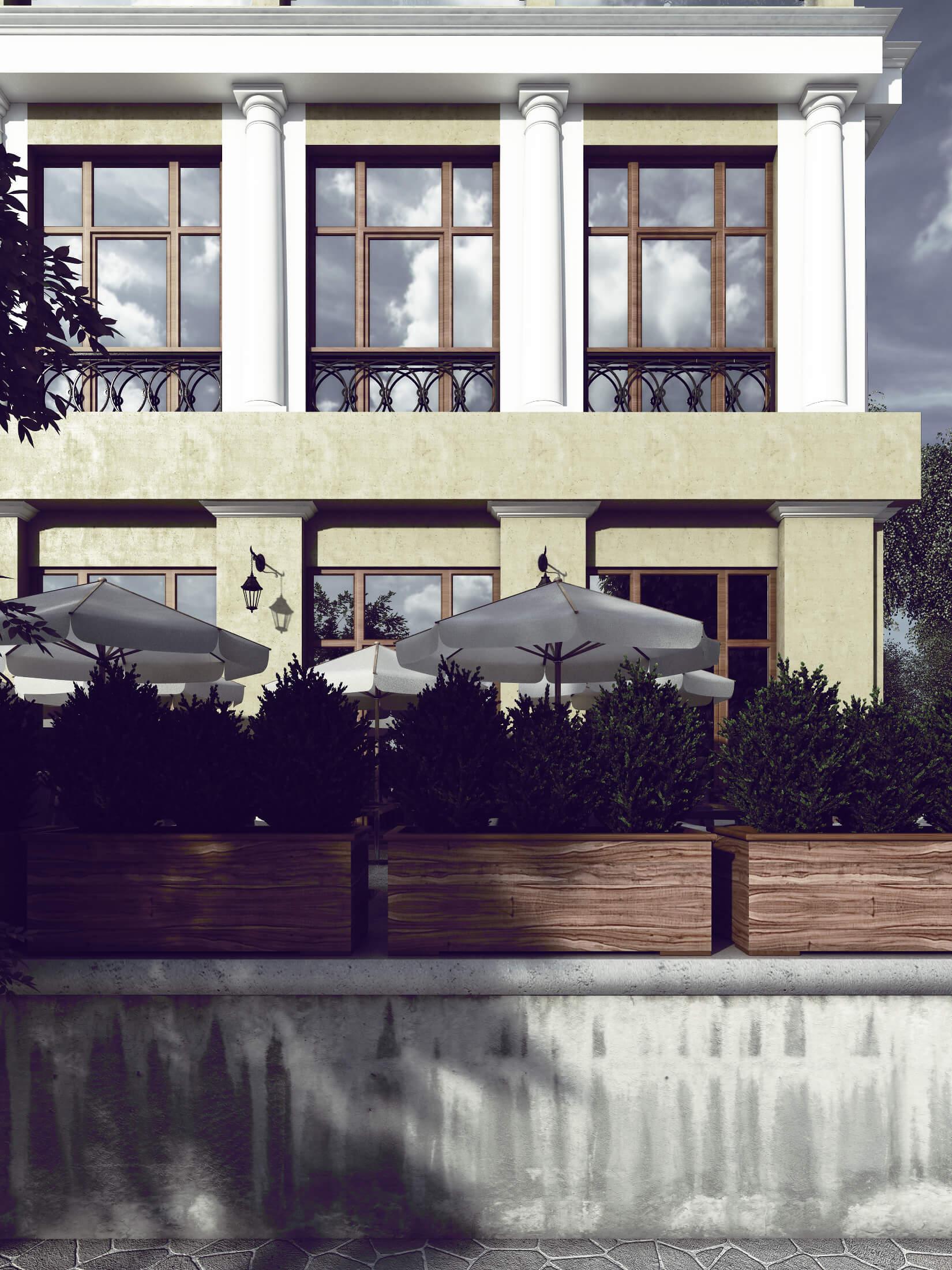 Фасад и летняя площадка ресторана