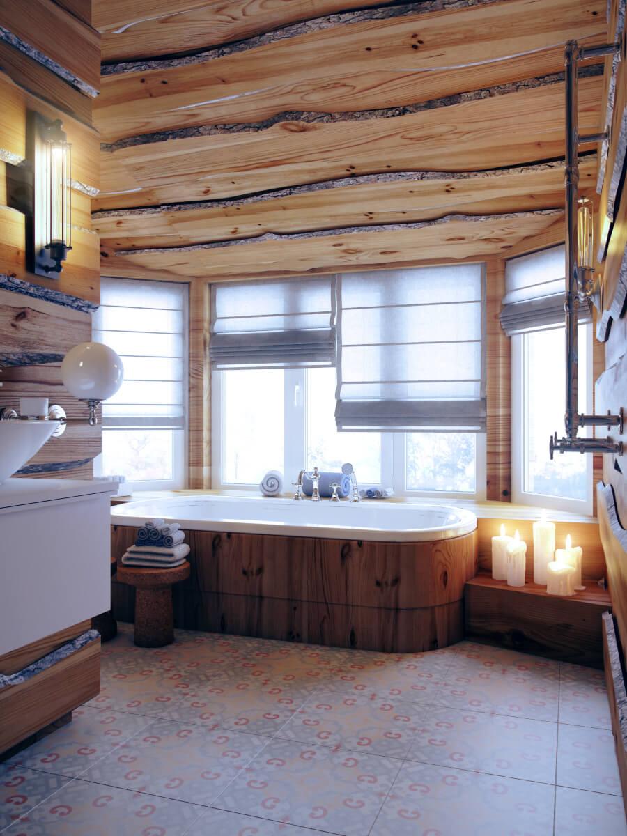 Ванная комната в отделке из обрезной лиственницы г. Москва