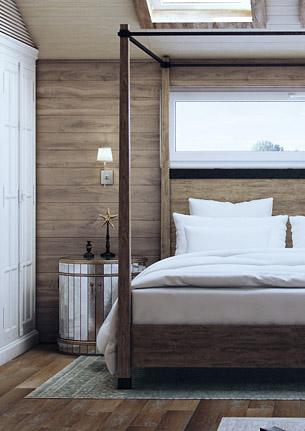 Спальня-студия с каминной зоной г. Москва