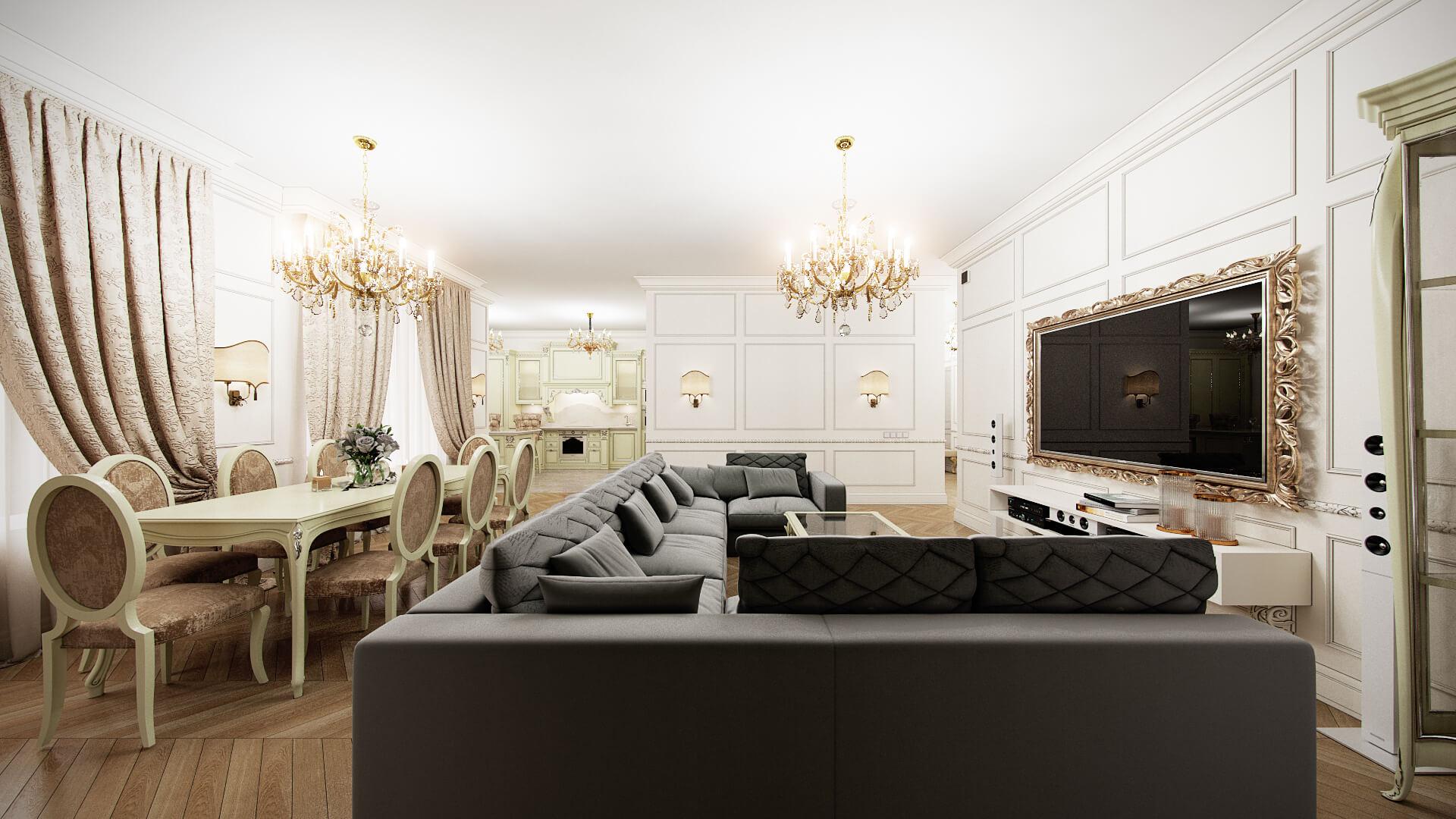 Кухня гостиная в классическом стиле г. Москва